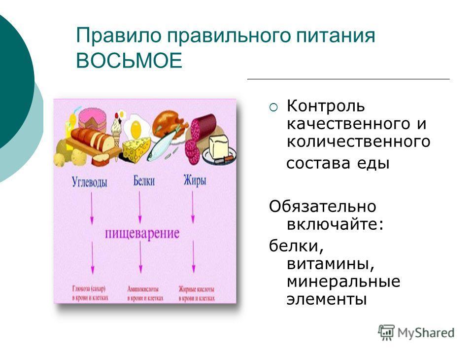 Правило правильного питания ВОСЬМОЕ Контроль качественного и количественного состава еды Обязательно включайте: белки, витамины, минеральные элементы