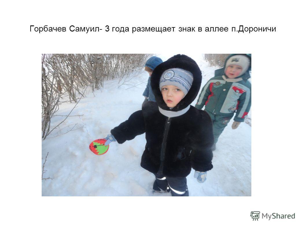 Горбачев Самуил- 3 года размещает знак в аллее п.Дороничи