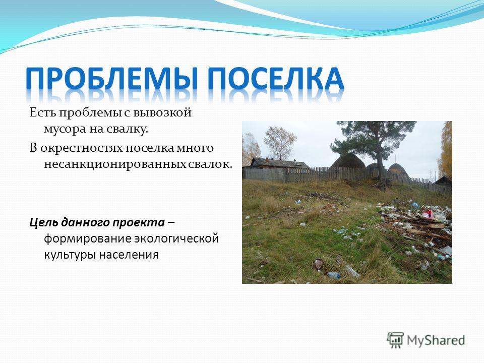 Есть проблемы с вывозкой мусора на свалку. В окрестностях поселка много несанкционированных свалок. Цель данного проекта – формирование экологической культуры населения