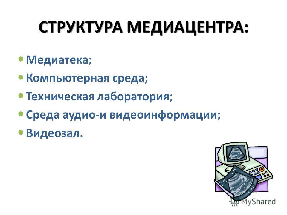 СТРУКТУРА МЕДИАЦЕНТРА: Медиатека; Компьютерная среда; Техническая лаборатория; Среда аудио-и видеоинформации; Видеозал.