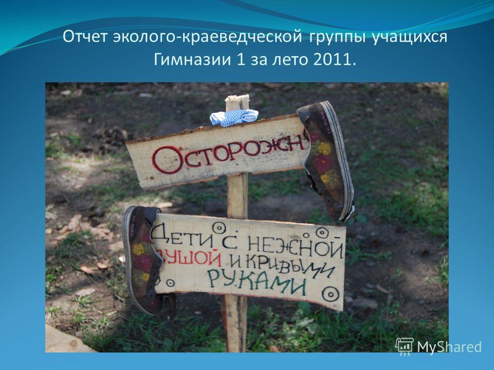 Отчет эколого-краеведческой группы учащихся Гимназии 1 за лето 2011.