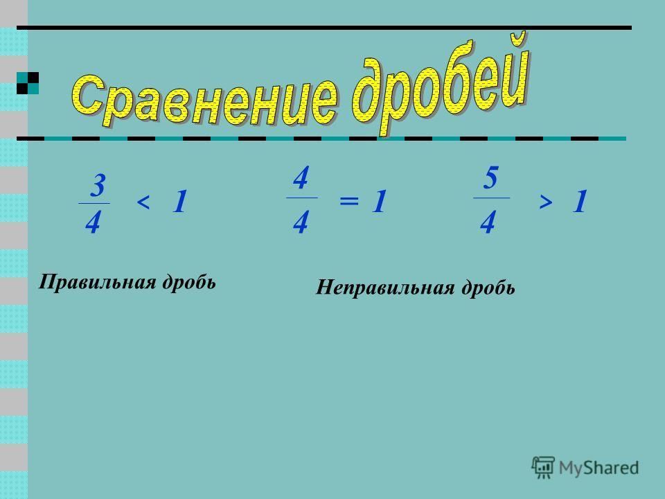 3 4 ^ 1 4 4 =1 5 4 ^ 1 Правильная дробь Неправильная дробь