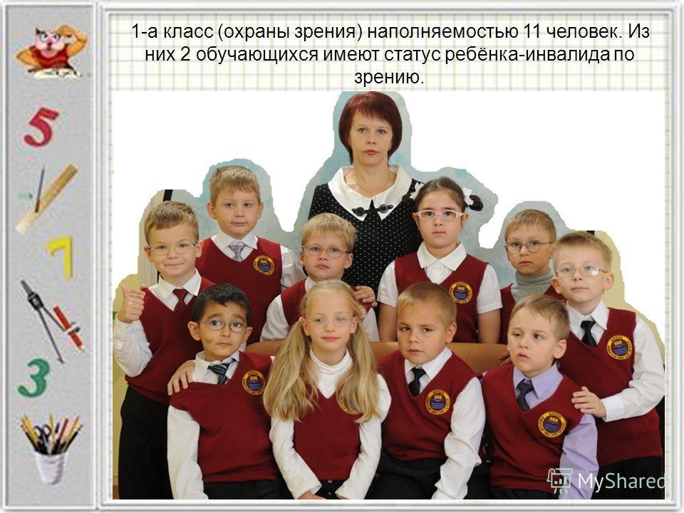 1-а класс (охраны зрения) наполняемостью 11 человек. Из них 2 обучающихся имеют статус ребёнка-инвалида по зрению.