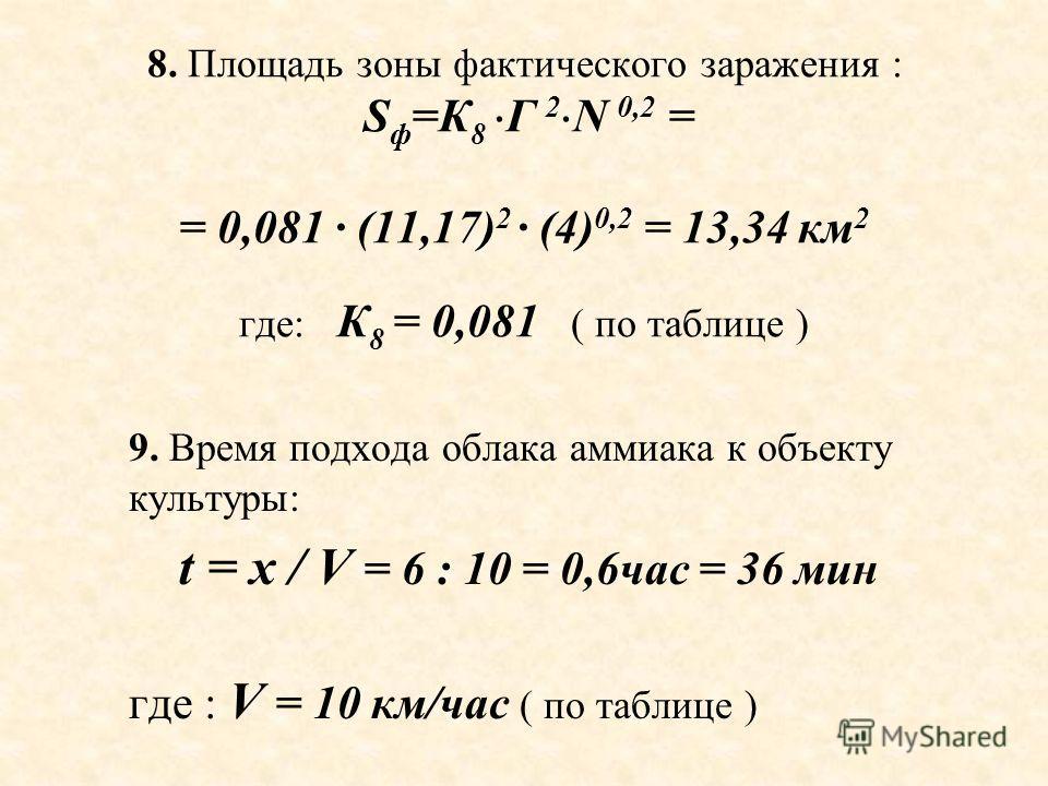 8. Площадь зоны фактического заражения : S ф =К 8 Г 2 N 0,2 = = 0,081 · (11,17) 2 · (4) 0,2 = 13,34 км 2 где: К 8 = 0,081 ( по таблице ) 9. Время подхода облака аммиака к объекту культуры: t = x / V = 6 : 10 = 0,6час = 36 мин где : V = 10 км/час ( по