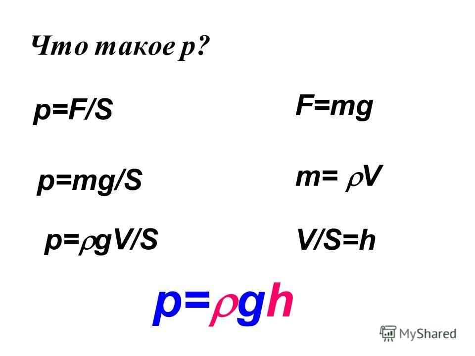 Что такое p? p=F/S F=mg p=mg/S m= V p= gV/S V/S=h p= gh