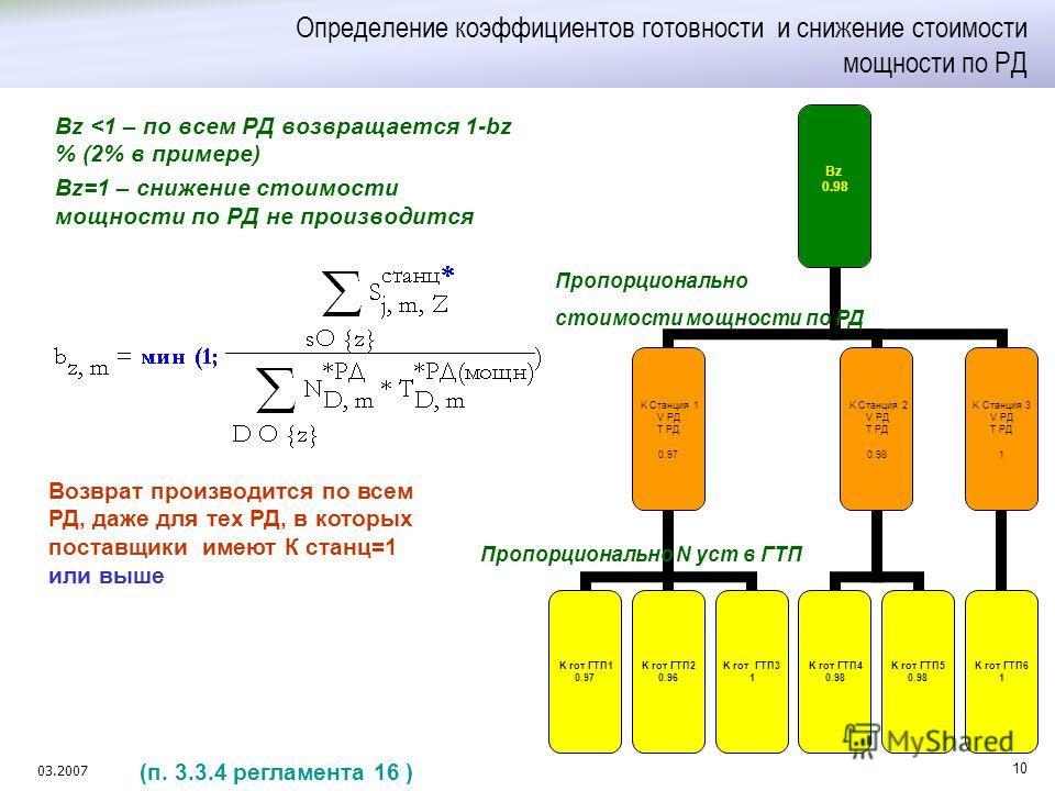 03.2007 10 Определение коэффициентов готовности и снижение стоимости мощности по РД Bz