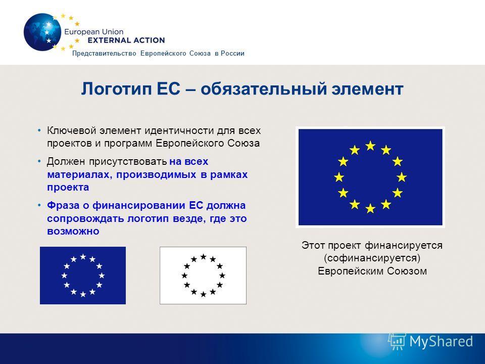Логотип ЕС – обязательный элемент Ключевой элемент идентичности для всех проектов и программ Европейского Союза Должен присутствовать на всех материалах, производимых в рамках проекта Фраза о финансировании ЕС должна сопровождать логотип везде, где э