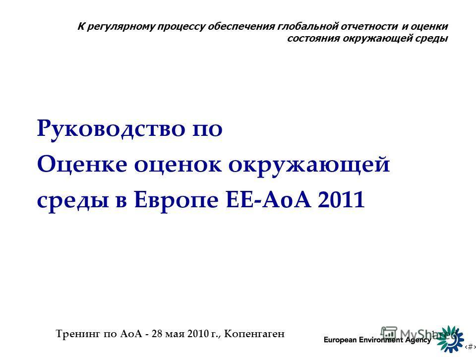 # 1 Руководство по Оценке оценок окружающей среды в Европе EE-AoA 2011 Тренинг по АоА - 28 мая 2010 г., Копенгаген К регулярному процессу обеспечения глобальной отчетности и оценки состояния окружающей среды