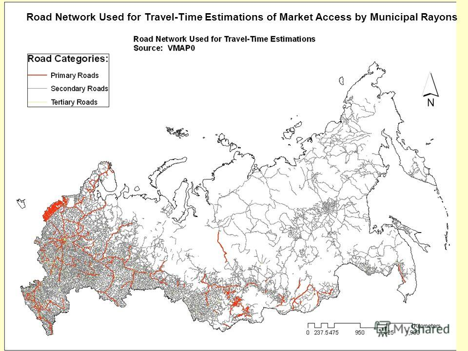 The World Bank Road Network Used for Travel-Time Estimations of Market Access by Municipal Rayons