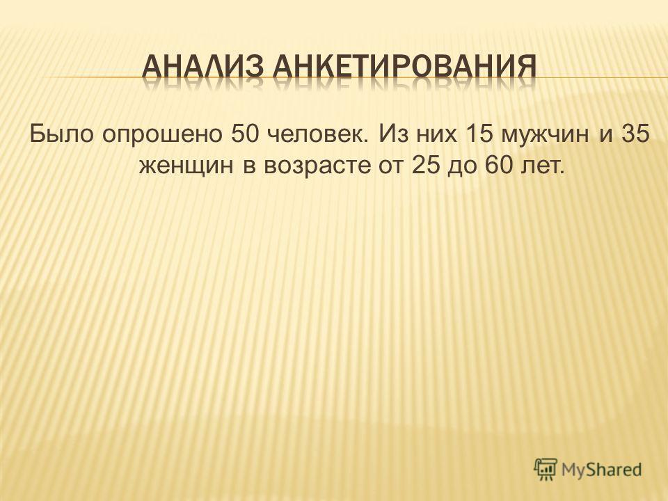 Было опрошено 50 человек. Из них 15 мужчин и 35 женщин в возрасте от 25 до 60 лет.