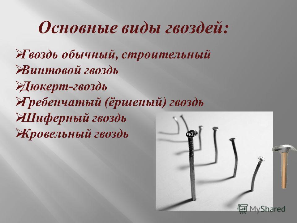 Основные виды гвоздей : Гвоздь обычный, строительный Винтовой гвоздь Дюкерт - гвоздь Гребенчатый ( ёршеный ) гвоздь Шиферный гвоздь Кровельный гвоздь