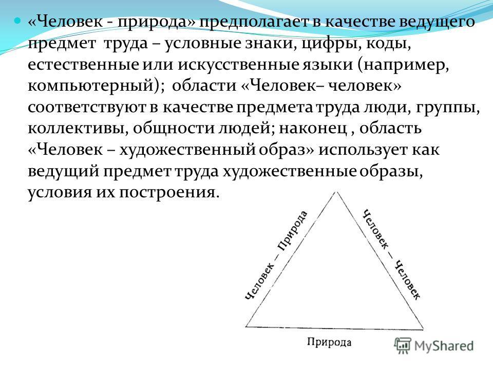 «Человек - природа» предполагает в качестве ведущего предмет труда – условные знаки, цифры, коды, естественные или искусственные языки (например, компьютерный); области «Человек– человек» соответствуют в качестве предмета труда люди, группы, коллекти