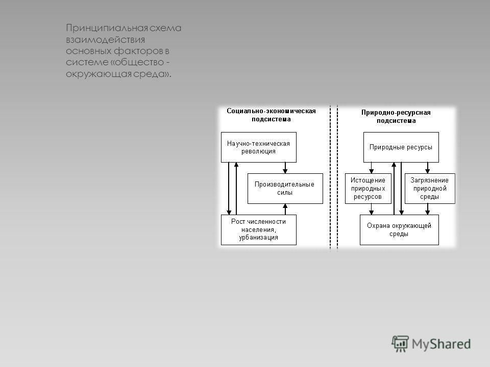 Принципиальная схема взаимодействия основных факторов в системе «общество - окружающая среда».