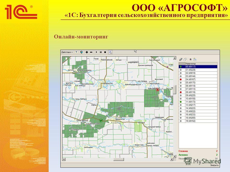 ООО «АГРОСОФТ» «1С: Бухгалтерия сельскохозяйственного предприятия» Онлайн-мониторинг