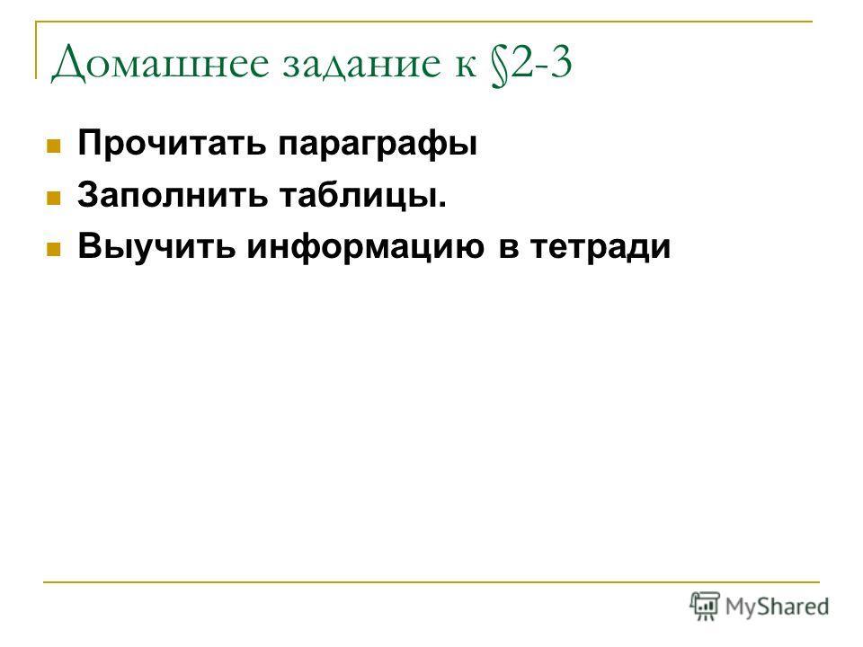 Домашнее задание к §2-3 Прочитать параграфы Заполнить таблицы. Выучить информацию в тетради