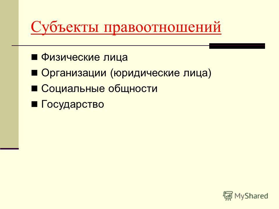 Субъекты правоотношений Физические лица Организации (юридические лица) Социальные общности Государство