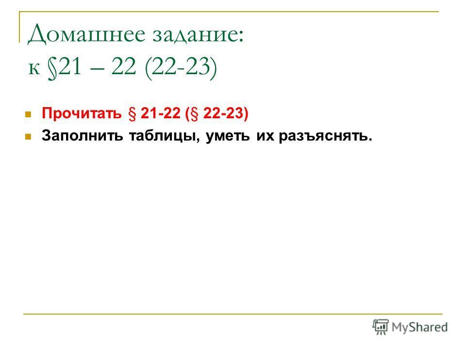 Домашнее задание: к §21 – 22 (22-23) Прочитать § 21-22 (§ 22-23) Заполнить таблицы, уметь их разъяснять.