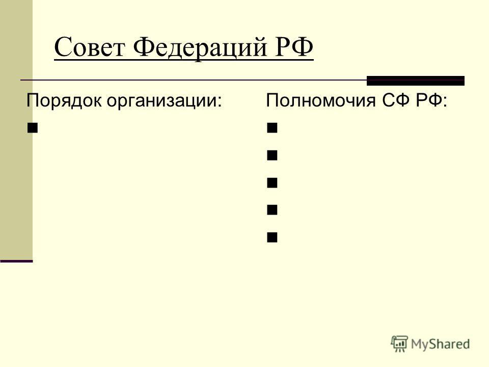 Совет Федераций РФ Порядок организации: Полномочия СФ РФ: