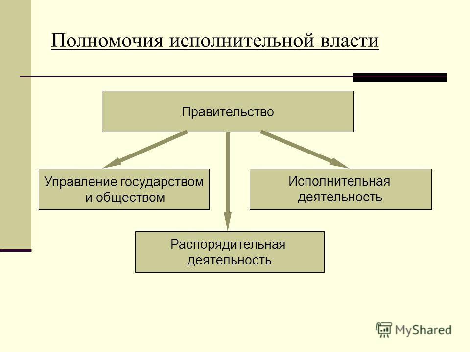Полномочия исполнительной власти Исполнительная деятельность Правительство Управление государством и обществом Распорядительная деятельность