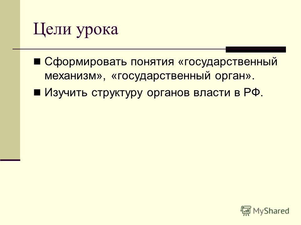 Цели урока Сформировать понятия «государственный механизм», «государственный орган». Изучить структуру органов власти в РФ.
