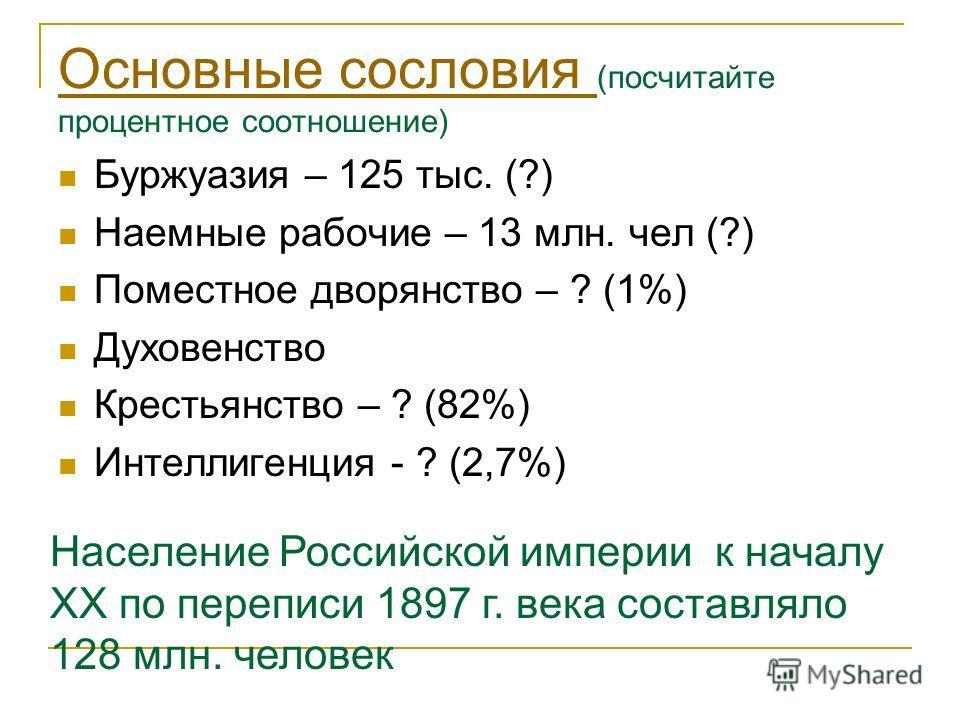 Основные сословия Основные сословия (посчитайте процентное соотношение) Буржуазия – 125 тыс. (?) Наемные рабочие – 13 млн. чел (?) Поместное дворянство – ? (1%) Духовенство Крестьянство – ? (82%) Интеллигенция - ? (2,7%) Население Российской империи