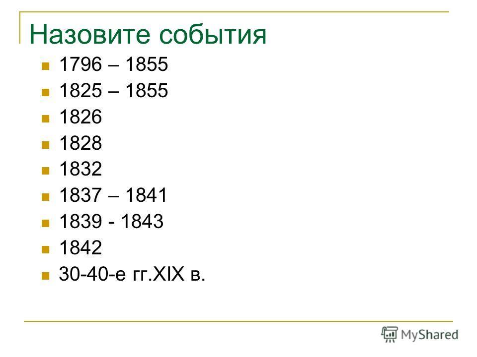 Назовите события 1796 – 1855 1825 – 1855 1826 1828 1832 1837 – 1841 1839 - 1843 1842 30-40-е гг.XIX в.