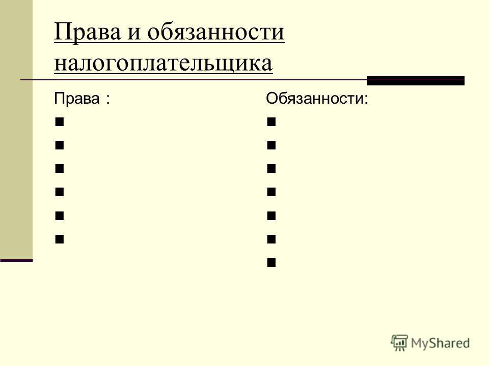 Права и обязанности налогоплательщика Права : Обязанности: