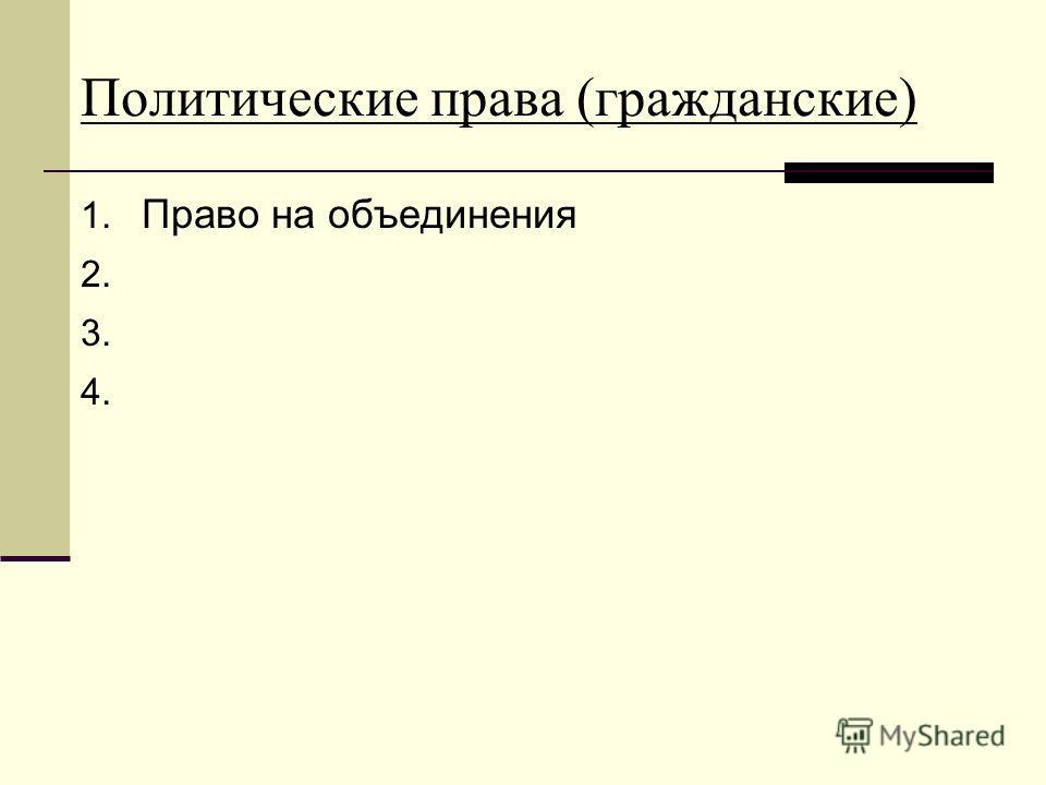 Политические права (гражданские) 1. Право на объединения 2. 3. 4.