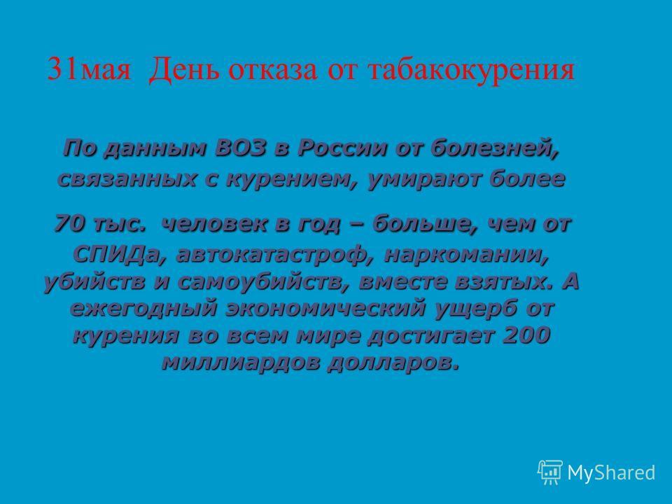 По данным ВОЗ в России от болезней, связанных с курением, умирают более 70 тыс. человек в год – больше, чем от СПИДа, автокатастроф, наркомании, убийств и самоубийств, вместе взятых. А ежегодный экономический ущерб от курения во всем мире достигает 2