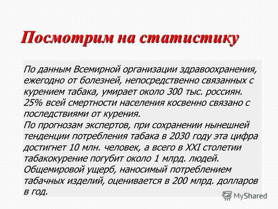 Посмотрим на статистику По данным Всемирной организации здравоохранения, ежегодно от болезней, непосредственно связанных с курением табака, умирает около 300 тыс. россиян. 25% всей смертности населения косвенно связано с последствиями от курения. По