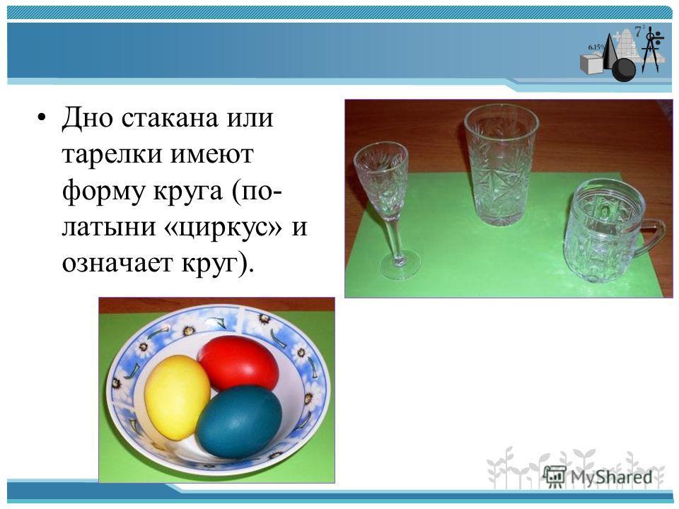 Дно стакана или тарелки имеют форму круга (по- латыни «циркус» и означает круг).