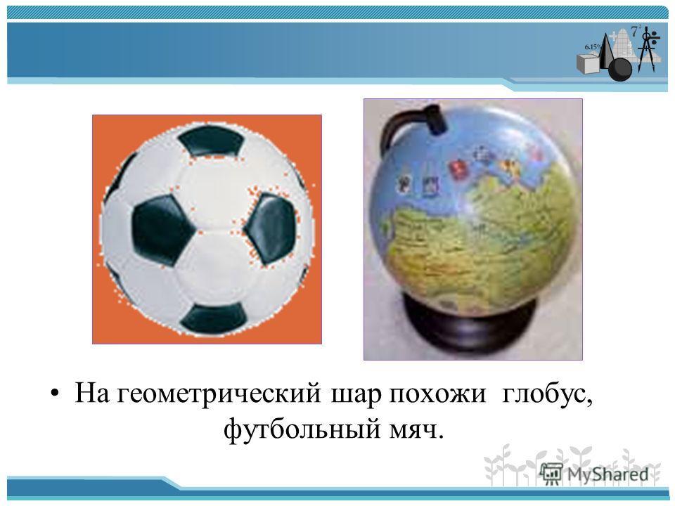 На геометрический шар похожи глобус, футбольный мяч.