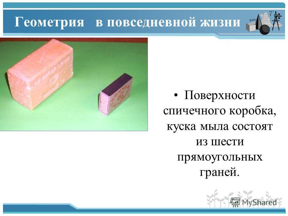 Геометрия в повседневной жизни Поверхности спичечного коробка, куска мыла состоят из шести прямоугольных граней.