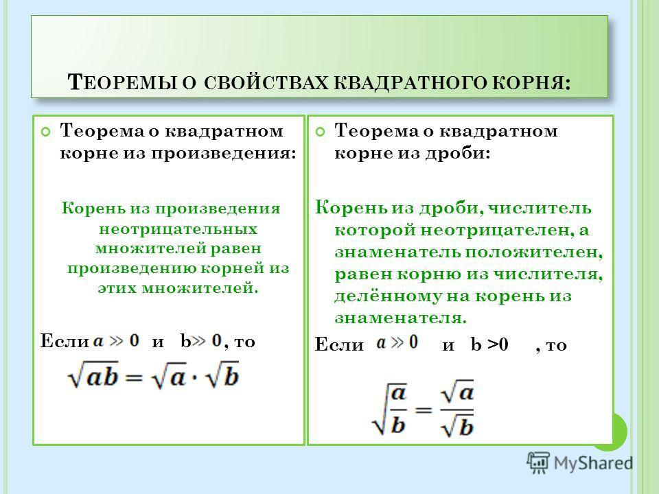 Т ЕОРЕМЫ О СВОЙСТВАХ КВАДРАТНОГО КОРНЯ : Теорема о квадратном корне из произведения: Корень из произведения неотрицательных множителей равен произведению корней из этих множителей. Если и b, то Теорема о квадратном корне из дроби: Корень из дроби, чи