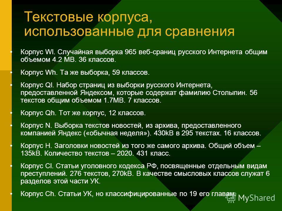 Текстовые корпуса, использованные для сравнения Корпус Wl. Случайная выборка 965 веб-сраниц русского Интернета общим объемом 4.2 MB. 36 классов. Корпус Wh. Та же выборка, 59 классов. Корпус Ql. Набор страниц из выборки русского Интернета, предоставле