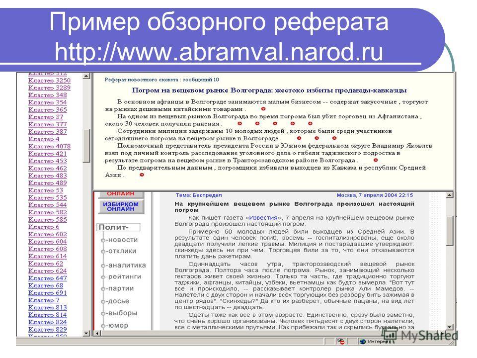 20 Пример обзорного реферата http://www.abramval.narod.ru