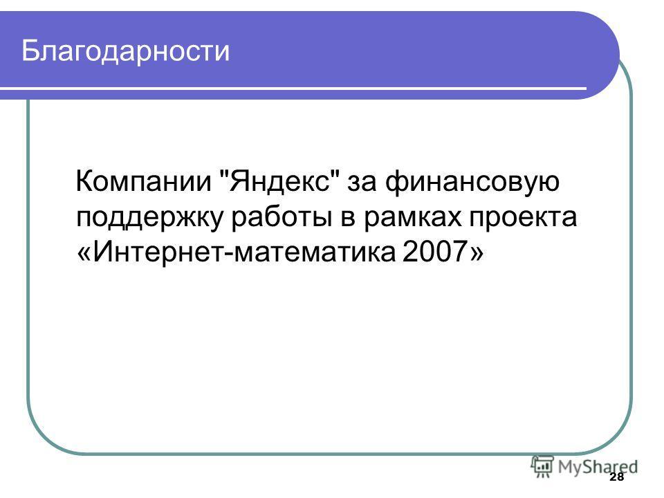 Благодарности Компании Яндекс за финансовую поддержку работы в рамках проекта «Интернет-математика 2007» 28