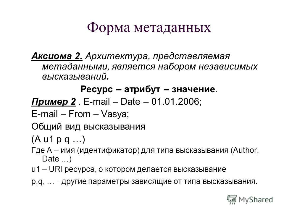 Форма метаданных Аксиома 2. Архитектура, представляемая метаданными, является набором независимых высказываний. Ресурс – атрибут – значение. Пример 2. E-mail – Date – 01.01.2006; E-mail – From – Vasya; Общий вид высказывания (A u1 p q …) Где А – имя