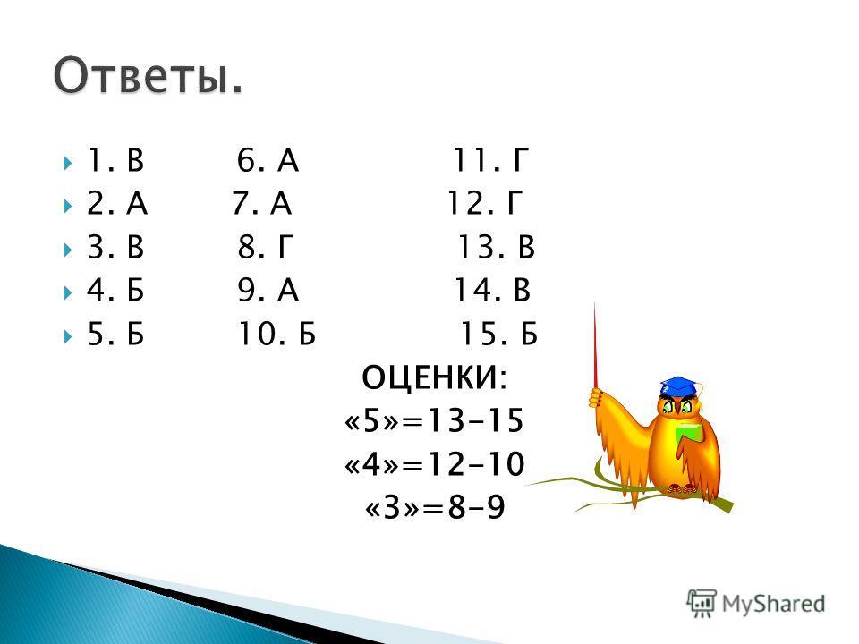 1. В 6. А 11. Г 2. А 7. А 12. Г 3. В 8. Г 13. В 4. Б 9. А 14. В 5. Б 10. Б 15. Б ОЦЕНКИ: «5»=13-15 «4»=12-10 «3»=8-9