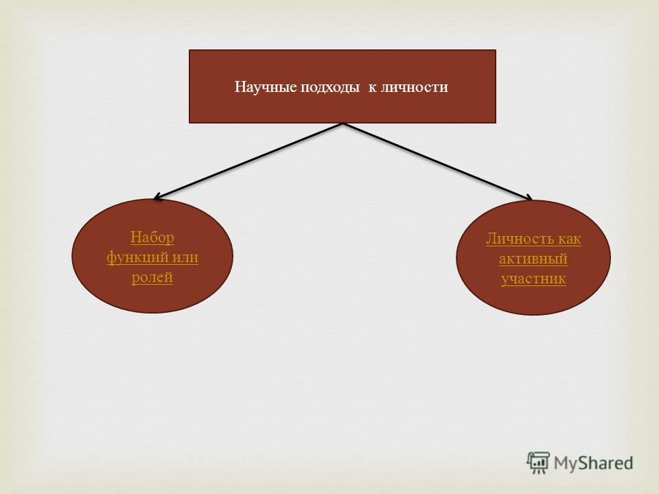 Научные подходы к личности Набор функций или ролей Личность как активный участник