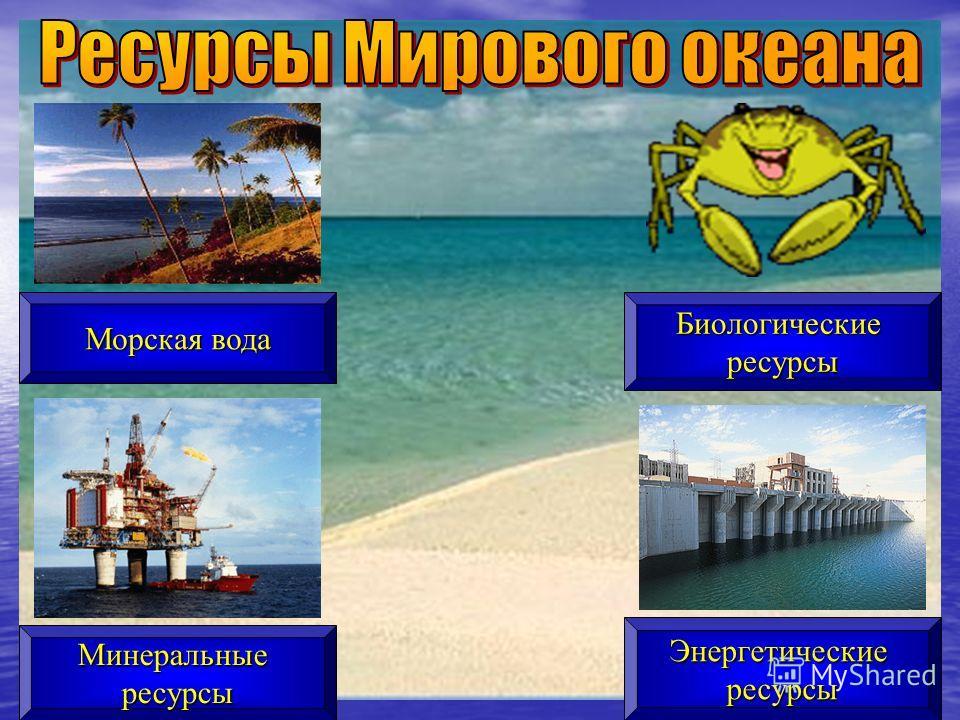 Морская вода Минеральныересурсы Биологическиересурсы Энергетическиересурсы