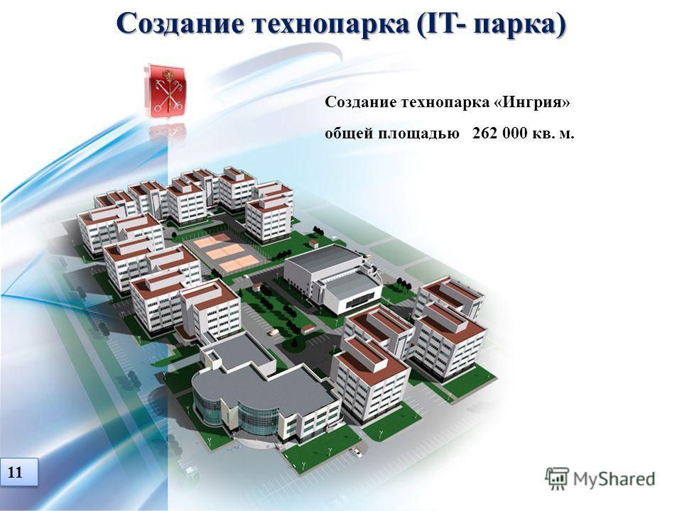 Создание технопарка (IT- парка) Создание технопарка «Ингрия» общей площадью 262 000 кв. м. 11