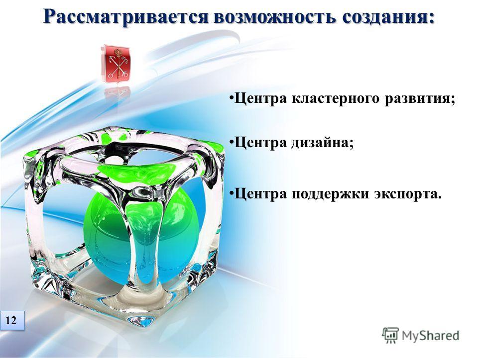 Центра кластерного развития; Центра дизайна; Центра поддержки экспорта. 12 Рассматривается возможность создания: