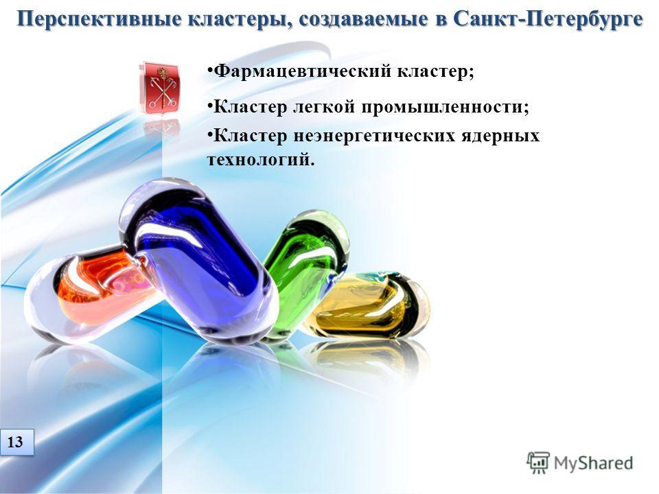Перспективные кластеры, создаваемые в Санкт-Петербурге Фармацевтический кластер; Кластер легкой промышленности; Кластер неэнергетических ядерных технологий. 13
