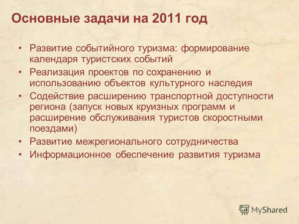 Основные задачи на 2011 год Развитие событийного туризма: формирование календаря туристских событий Реализация проектов по сохранению и использованию объектов культурного наследия Содействие расширению транспортной доступности региона (запуск новых к