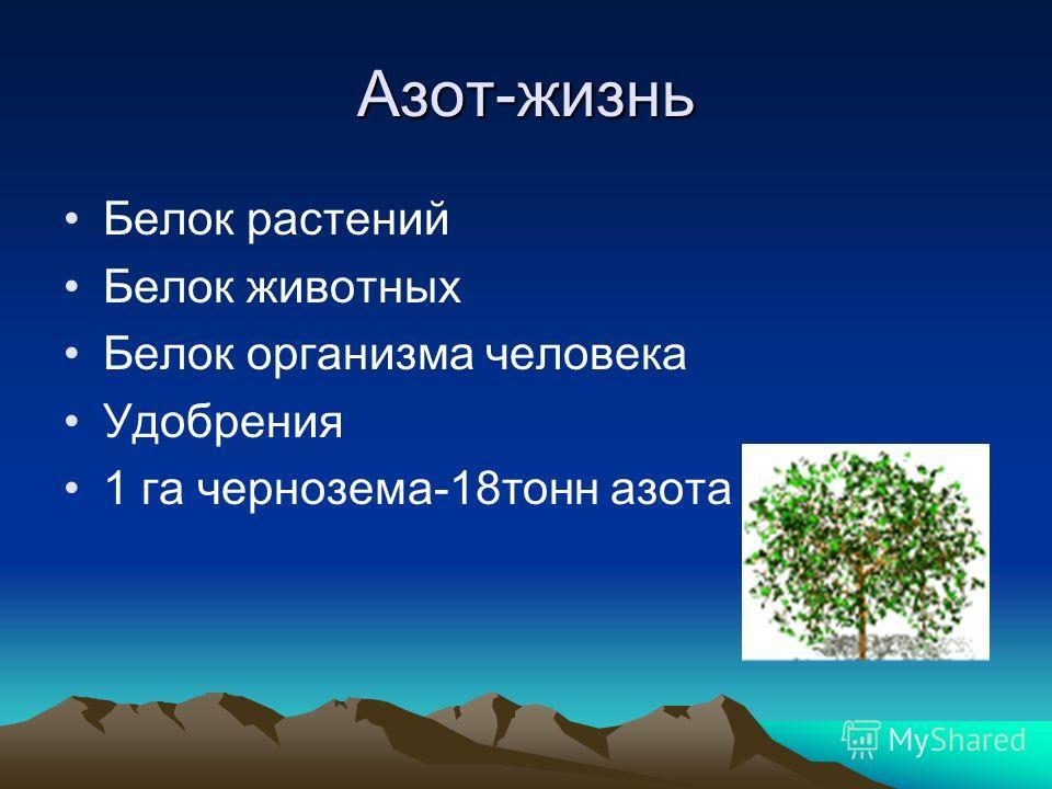 Азот-жизнь Белок растений Белок животных Белок организма человека Удобрения 1 га чернозема-18тонн азота