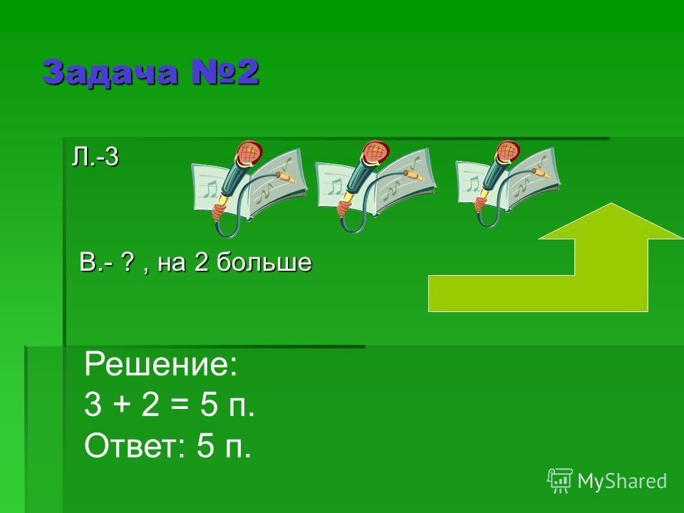 Л.-3 Л.-3 В.- ?, на 2 больше В.- ?, на 2 больше Задача 2 Решение: 3 + 2 = 5 п. Ответ: 5 п.