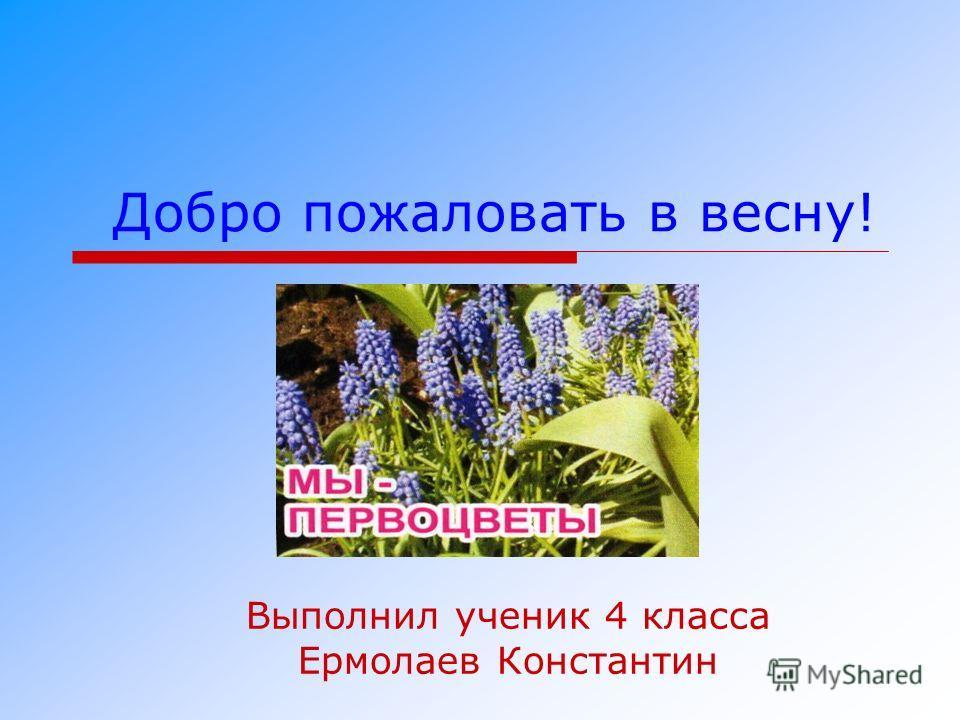 Добро пожаловать в весну! Выполнил ученик 4 класса Ермолаев Константин