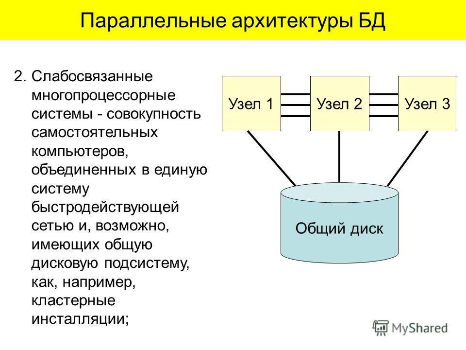 2.Слабосвязанные многопроцессорные системы - совокупность самостоятельных компьютеров, объединенных в единую систему быстродействующей сетью и, возможно, имеющих общую дисковую подсистему, как, например, кластерные инсталляции; Параллельные архитекту
