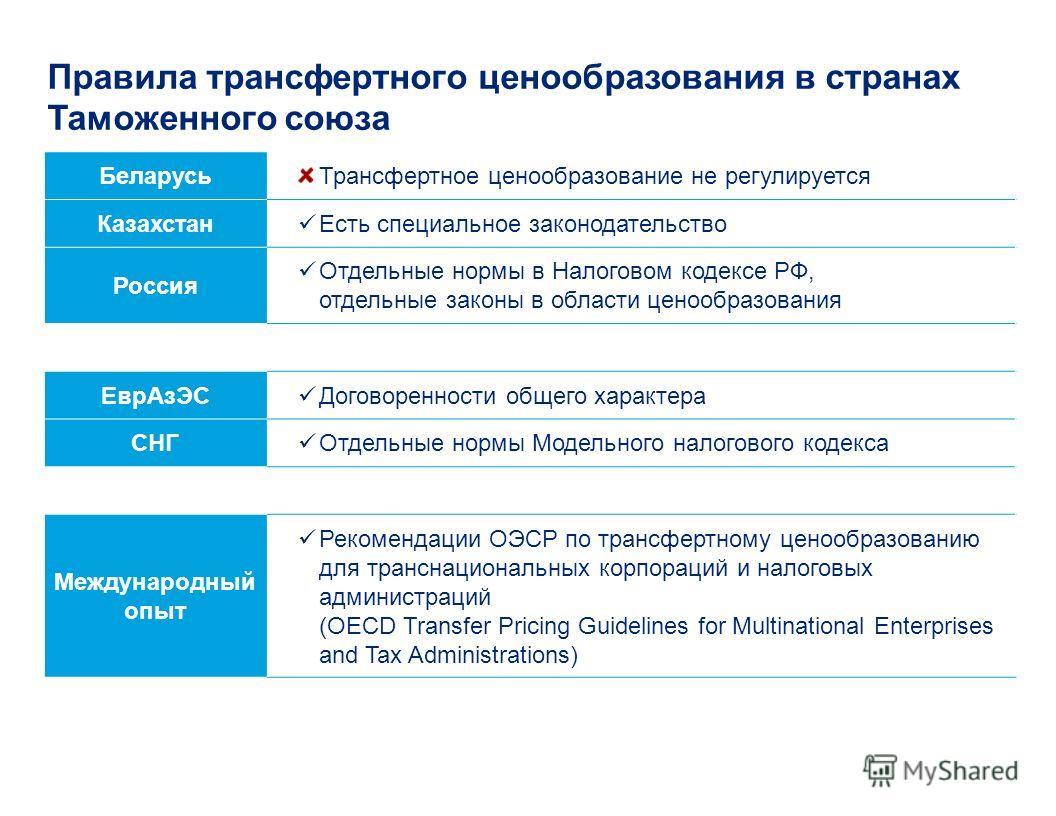 Правила трансфертного ценообразования в странах Таможенного союза БеларусьТрансфертное ценообразование не регулируется Казахстан Есть специальное законодательство Россия Отдельные нормы в Налоговом кодексе РФ, отдельные законы в области ценообразован